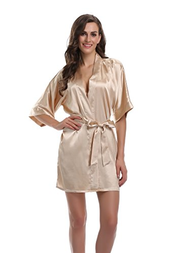 Sunnyhu Women's Pure Color Kimono Robe, Short (M, Champagne Gold)