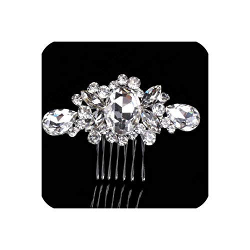 Bridal Hair Combs Wedding Hair Accessories Comb Hair Women Girl Headpiece,Imitation Rhodium Plated ()