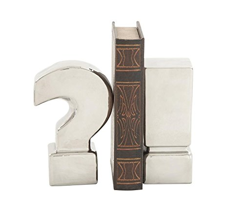 Deco 79 59728 Extraordinary Ceramic Bookend, Silver