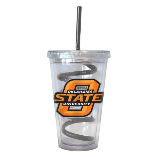 Boelter Brands NCAA Oklahoma State Cowboys 16-ounce Tumbler with Swirl Straw