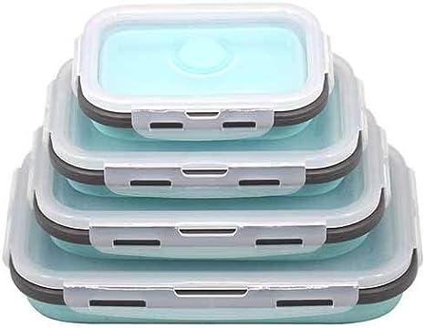 Fiambrera de Silicona de 4 Piezas Tazón portátil Contenedor de Comida Plegable Colorido Fiambrera 350/500/800 / 1200ml Ecológico - Azul Negro 4pcs
