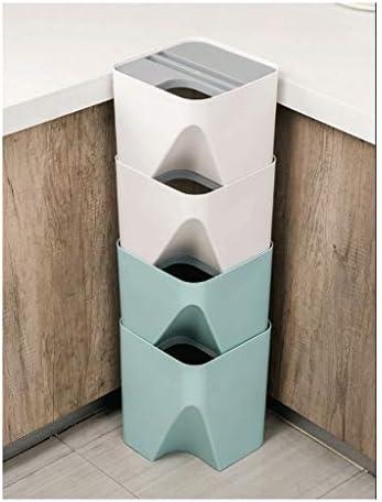 プラスチックごみ箱ごみ箱、オーバーレイソート酷いビン、シングル6/8ガロン容量、バスルームには、キッチン、ホームオフィス (サイズ : L 2 gray-white+L 2 Light blue)