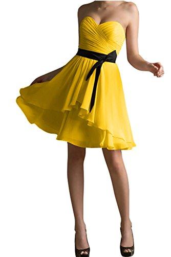 Partykleid Abendkleid Gorgeous Mit Modisch Kurz Herzform Bride Schwarz Gelb Überknie Passe Cocktailkleid 8RBAvq8