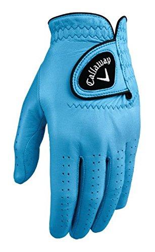 Callaway Golf Men's OptiColor Leather Glove, Light Blue, Large, Worn on Left - Leather Gloves Bionic Golf