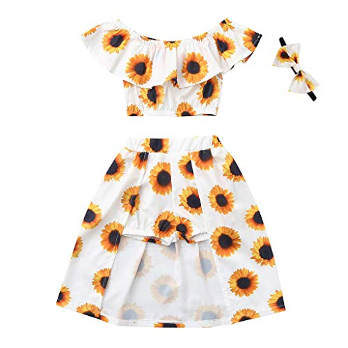 WOCACHI Toddler Baby Girls Off Shoulder Sunflower Print Tops+Skirt Pantskirt Outfits Set Newborn Mom Daughter Son Coverall Layette Sets Best Gift Multi Adorable Dress-up Outfits -