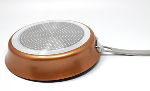 """CONCORD 9.5"""" Copper Non Stick Saute Pan Frying Pan Coppe-Ramic Series Skillet Cookware (Induction Compatible)"""