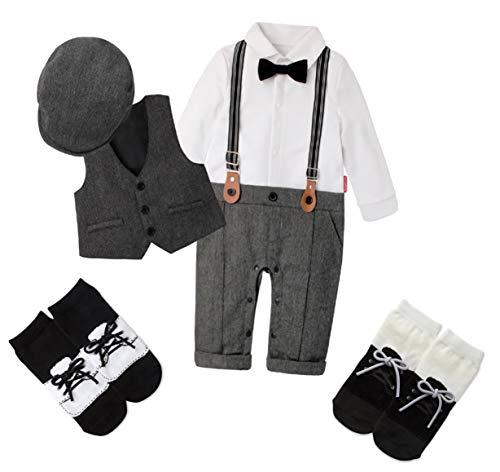 Baby Boys Little Gentleman Long Sleeve Bow Tie Romper Suit Vest Coat Berets Hat Suspenders Socks 6 Piece Set(Gray80)(BB02)