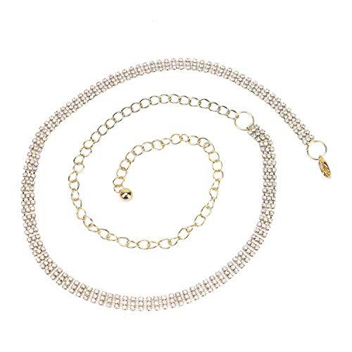(Monrocco Rhinestone Waist Belt 3 Rows Adjustable Gold Plated Waist Chain Belt for Dress)