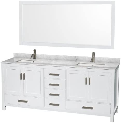 Wyndham Collection Sheffield 80 inch Double Bathroom Vanity in White, White Carrara Marble Countertop, Undermount Square Sinks, and 70 inch Mirror