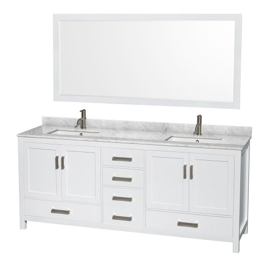 Wyndham Collection Sheffield 80 inch Double Bathroom Vanity in White, White Carrera Marble Countertop, Undermount Square Sinks, and 70 inch Mirror (Carrera Marble Vanity Top With Sink)