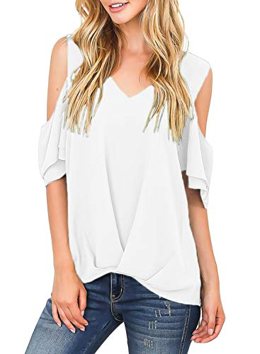 (Itsmode Chiffon Blouses for Women Short Sleeve Ladies Cold Shoulder Bow Tie V Neck Wrap Front Tunic Flare Shirts Loose Tops White Medium)