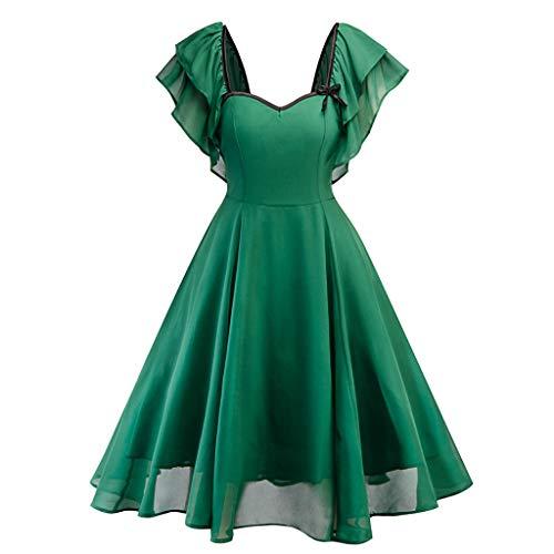 Hatoys Women Faxu Fur Vintage Flare Elegant Plaid Half Sleev/Lace Halter Cocktail Swing Party Dress(X-Large,Green (Heel Ankle Wrap Mini Platform)