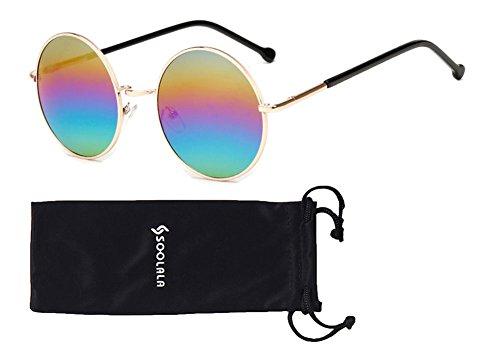 SOOLALA Classic Retro Alloy Round Circle Mirror Rainbow Lens Fashion Sunglasses