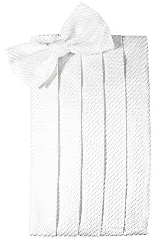 Cardi Men's Venetian Bowtie and Cummerbund Set, White