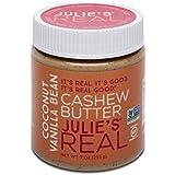 Julie's Real Cashew Butter, Smooth Coconut Vanilla Bean | Gluten Free, Paleo, Peanut Free | 9oz Jar