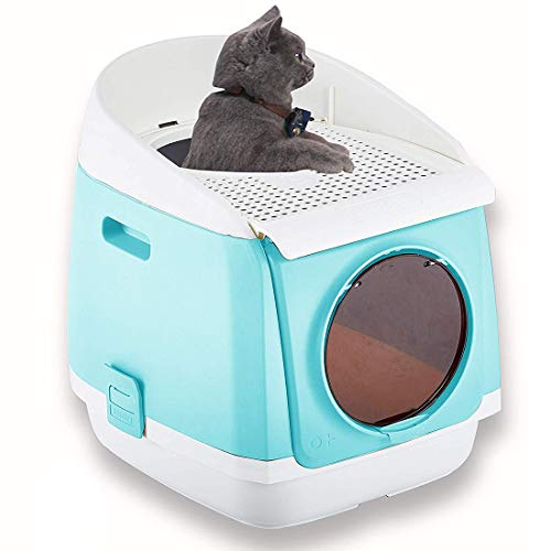 Pakeway Two Door Entry Cat Litter Box, Easy Clean Fully Enclosed Cat Toilet, Reduce Litter Scatter Up to 95%, Service for Small Kitty & Big Cat, Includes Scoop (Baby Blue)