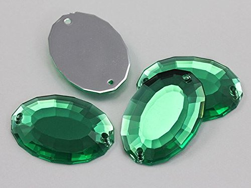 Allstarco 35x24mm Green Peridot H110 Large Oval Flat Back Sew On Gems for Craft, - Emerald Jewel