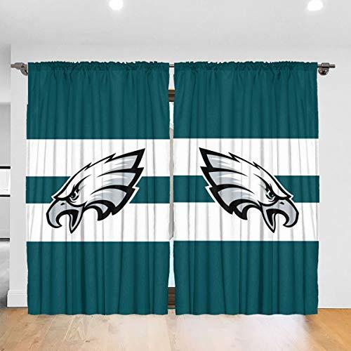 SFGFTHTD Window Curtains Philadelphia Eagles Logo Blackout Curtains, Thermal Insulation Curtains for Bedrooms, 52 X 72, 2 Panels (Philadelphia Eagles Curtains)