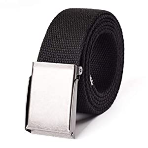 Canvas Web Belt | Cut to Fit Up to 52″ | Flip-Top Brushed Silver Nickel Buckle 12 Colors