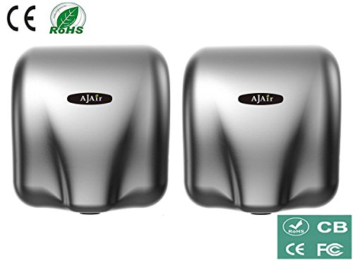 AjAir® (2 Pack) Heavy Duty Commercial 1800 Watts High Speed Automatic Hot Hand Dryer - Stainless Steel by AjAir