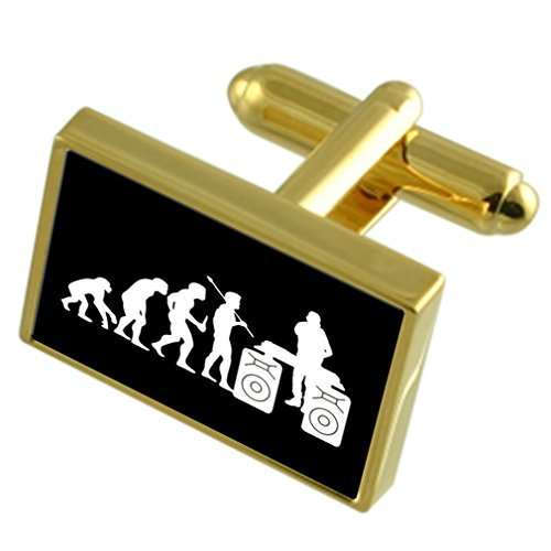 Evolution Ape to Man DJ Gole-tone Cufflinks Tie Clip Box Set Engraved Optional