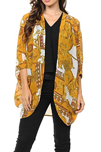Auliné Collection Womens USA Made Casual Cover Up Cape Gown Robe Cardigan Kimono SLFBW1 Baroque Mustard XL