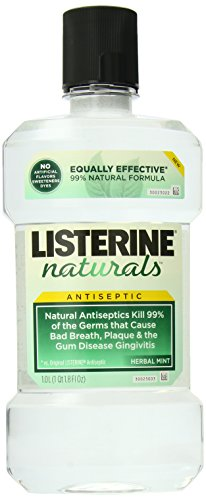 Listerine Naturals Antiseptic Mouthwash, Fluoride-Free Oral Care To Prevent Bad Breath, Plaque Build-Up and...