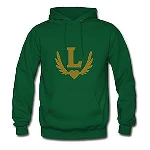 Green Regular Chic L_winged_heart Hoody X-large Women Custom-made