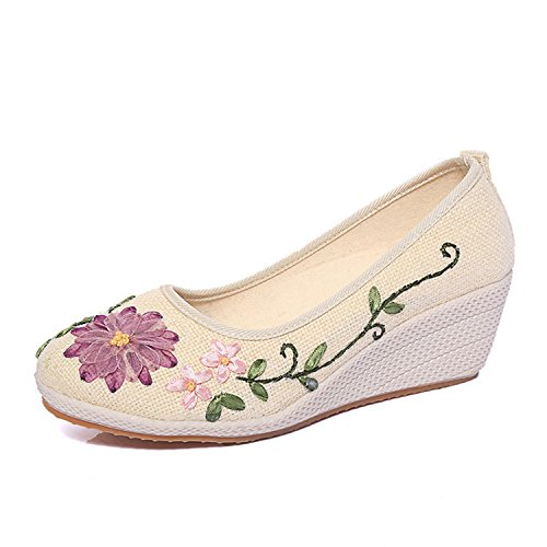 Perfectupstore Casual Flowers Ladies Pumps Summer Shoes Hemp Slip On Wedges Women Platform Pump Ww509 White 7