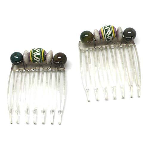 - Set of 2 Small Hair Combs Peruvian Ceramic White Green Yellow Tan Green Agate