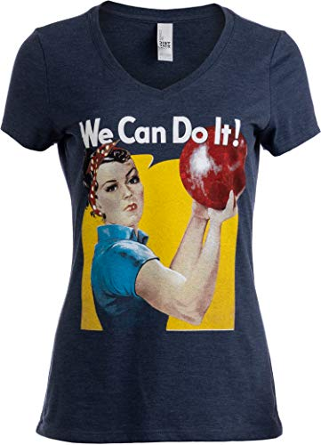Rosie The Bowler | Funny Bowling Ball Team Uniform Fun V-Neck T-Shirt for Women-(Vneck,XL) Vintage Navy