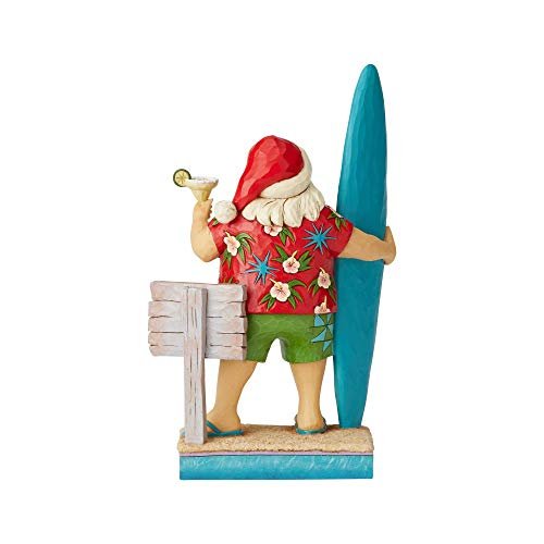Enesco Margaritaville by Jim Shore Santa with Surf Board Figurine, 10.5