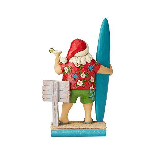 Enesco Margaritaville by Jim Shore Santa with Surf Board Figurine, 10.5