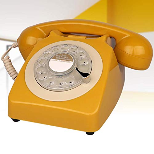 Qdid Designer Retro Phone/Rotary Dial Telephone/Retro Style Phone/Vintage Telephone/Classic Desk Phone with Rotary Dialler (Color : Yellow)