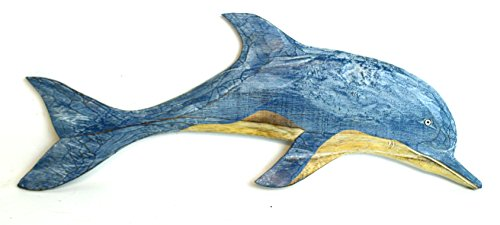 HAND CARVED BLUE WHITE WASH WOOD DOLPHIN WALL ART HANGING TROPICAL NAUTICAL DECOR Dolphin Wall Decor