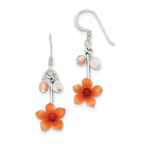 Carnelian Dangle Earrings Flower - 925 Sterling Silver Rose/cherry Quartz Carnelian Drop Dangle Chandelier Flower Earrings Gardening Fine Jewelry Gifts For Women For Her