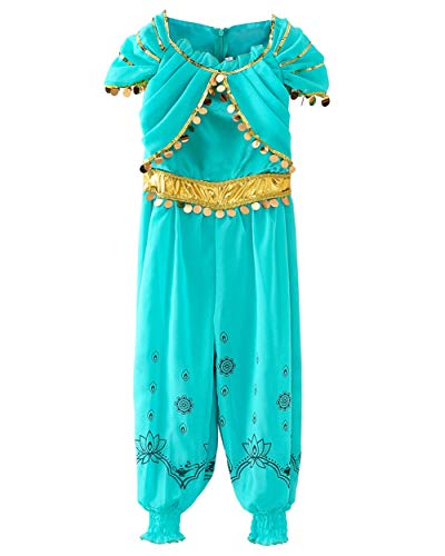 JiaDuo Princess Jasmine Costume for Girls Halloween Party Dress Up 4-5 Years]()
