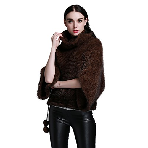 (Fur Story Women's Knitted Fur Coat with Real Mink Fur Pullover Full Sleeve Mandarin Collar (Brown) )