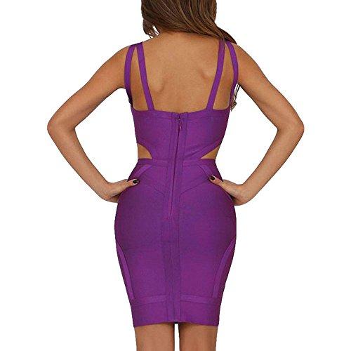Kleid HLBandage Frauen Doppel Violett Bügel Reizvolle Kunstseide Loch Verband r0wCrx