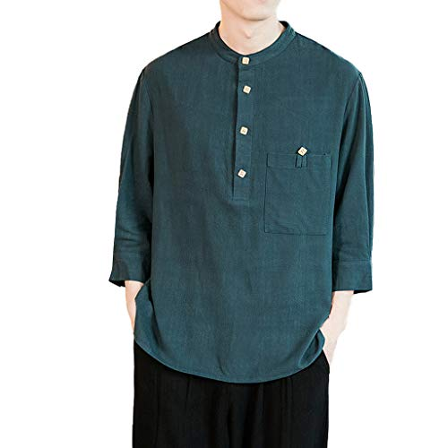 Men's Casual Shirts Summer Cotton Line 3/4 Sleeve Henley T-Shirts Tops Plus Size with Pocket (XXXXL, Green)