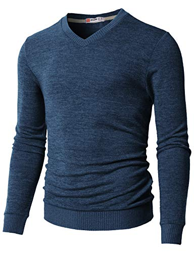 H2H Mens Basic V-Neck Long Sleeve Cotton Sweater Of Various Colors Blue US S/Asia M (CMOSWL018)