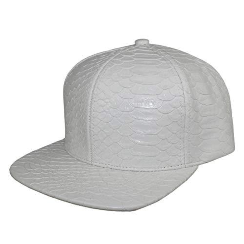 (Xtra Glossy Snakeskin Baseball Cap Hat Women Unisex Crocodile PU Leather Snapback Men (White))
