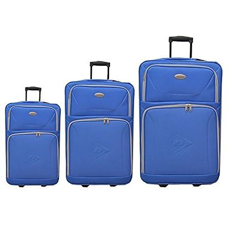 Juego de 3 maletas blandas con ruedas en poliéster color azul Dunlop con 2 ruedas, mango telescópico ajustable y asas externas: Amazon.es: Equipaje
