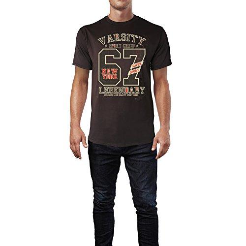 Sinus Art ® Herren T Shirt Varsity Sport Crew ( Chocolate ) Crewneck Tee with Frontartwork