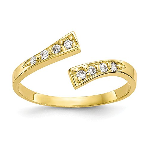 10k Yellow Gold Cubic Zirconia Cz Adjustable Cute Toe Ring Set Fine Jewelry Gifts For Women For Her Designer Yellow Toe Ring