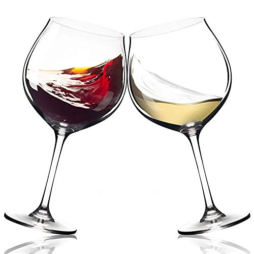 Season Story Extra Large Red Wine Glasses - Set of 2 wide rim 25 oz glass with stem, crystal balloon xl bowl size 4 Cabernet, tall stemmed oversize holds whole bottle, powerful novelty Valentines Day (Giant Wine Glasses)