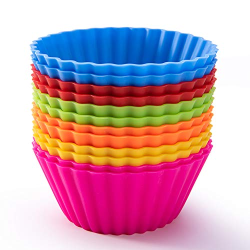 Silicone Baking Cups, SAWNZC Reusable Cupcake Liners Non-stick Muffin Cups Cake Molds, 12 Packs in 6 Rainbow Colors