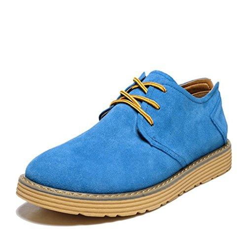 Heart&M zapatos de cuero de los hombres casual cuero Gamuza treasure blue