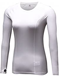 Women's Long Sleeves Compression Base Layer Fleece Thermal Underwear Running Shirt