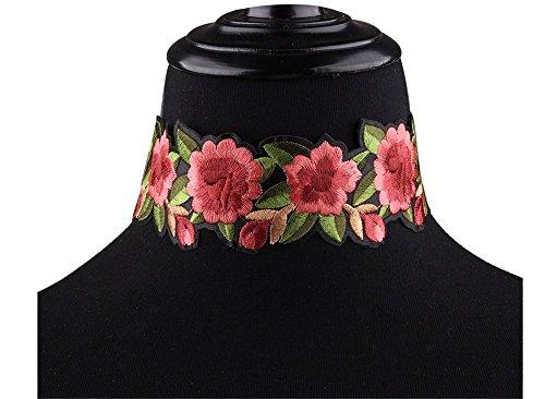 Women's Boho Flower Embroidered Rose Ribbon Choker